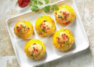 Patty pan squash, with a spicy stuffing