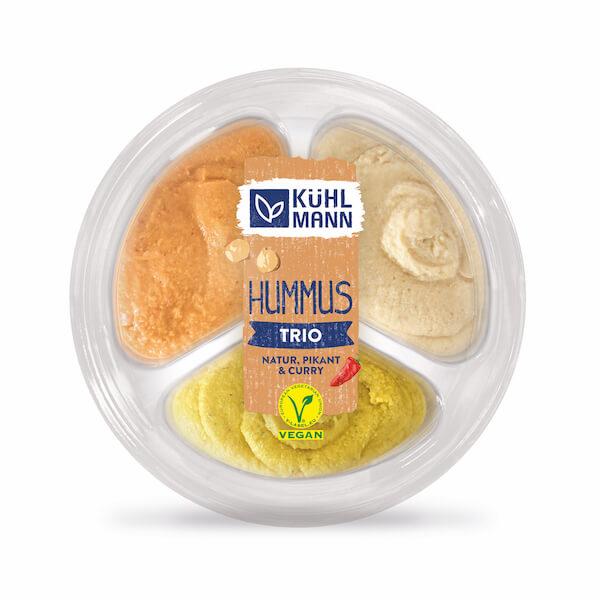 Kühlmann Hummus Trio Natur, pikant und Curry